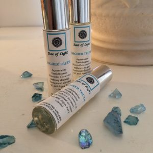 aquamarine frankincense with aqua aura crystal